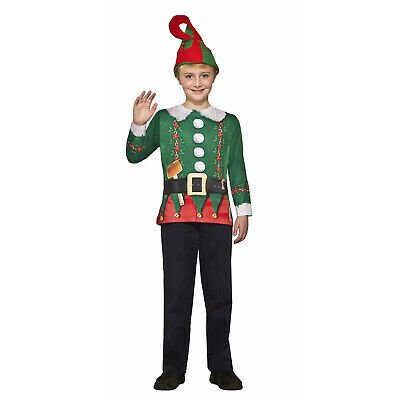 Boy Girl Child Elf Costume Shirt Ugly Holiday Christmas Funny Long Sleeve Shirt](Childrens Elf Costume)