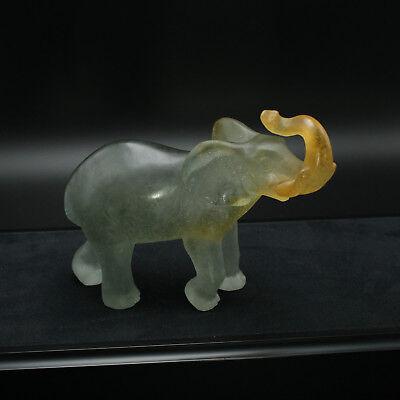 "DAUM French Crystal Elephant Pate de Verre 6-1/2"""