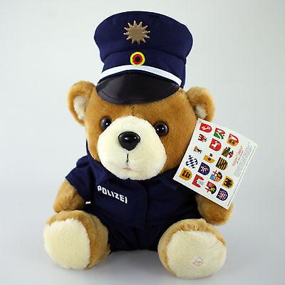 Polizei Teddy Vario Blue mit blauer, runder Dienstmüntze