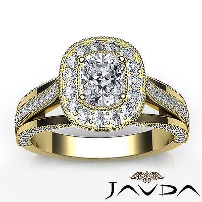 Cushion Diamond Halo Engagement GIA F VVS2 18k Yellow Gold Milgrain Ring 1.61Ct 3
