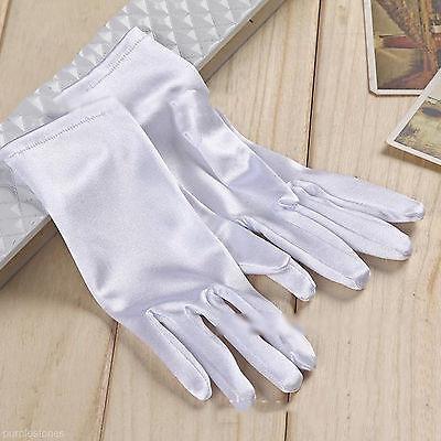 Women Bride Evening Dress Prom Wrist Short Finger Satin White Party Gloves US - Short Satin Gloves