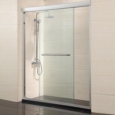 """Mecor 60"""" Framed 2 Sliding Bath Shower Glass Door 1/4"""" Direct Brushed Nickel"""