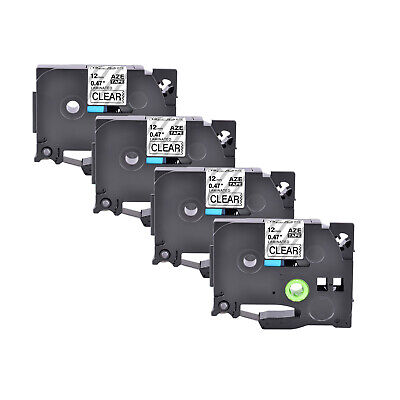 4pk Tz-131 Tze-131 Black On Clear Tape For Brother P-touch Pt-d400 12mm Label