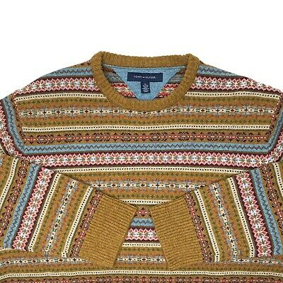 Vtg Tommy Hilfiger Men's Nordic Fair Isle Lambswool Crew Neck Sweater Sz XL EUC