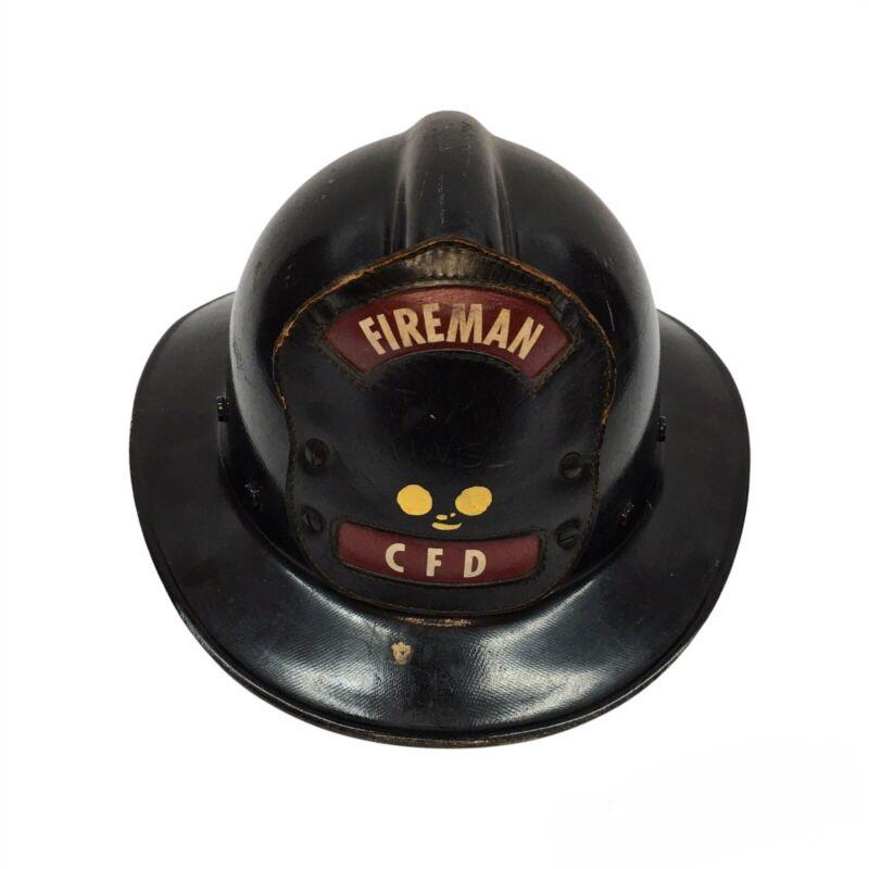 Vintage Black Fiberglass Fireman