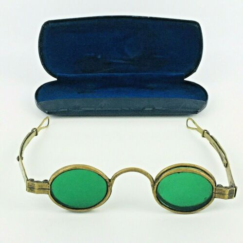 Antique GREEN (4 LENSES) EYEGLASSES SPECTACLES with Case Steam Punk #A1