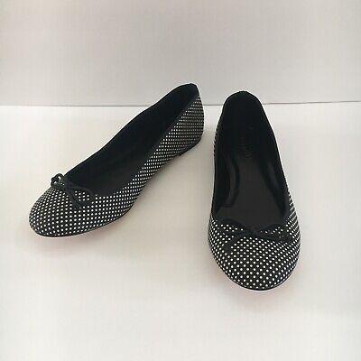 Talbots Womens Black White Polka Dots Fabric Ballet Flats Size 8.5 M