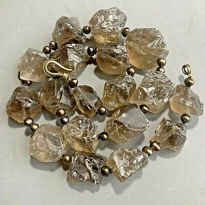 Huge Chunky Raw Smokey Quartz Real Pearl Sterling Silver Necklace Heavy for sale  Shipping to South Africa