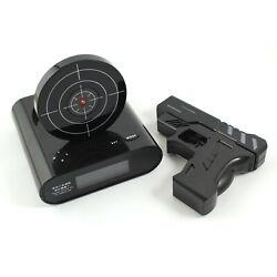 Home Laser Gun Target LCD Digital Alarm Clock Shooting Game Display Snooze Toy