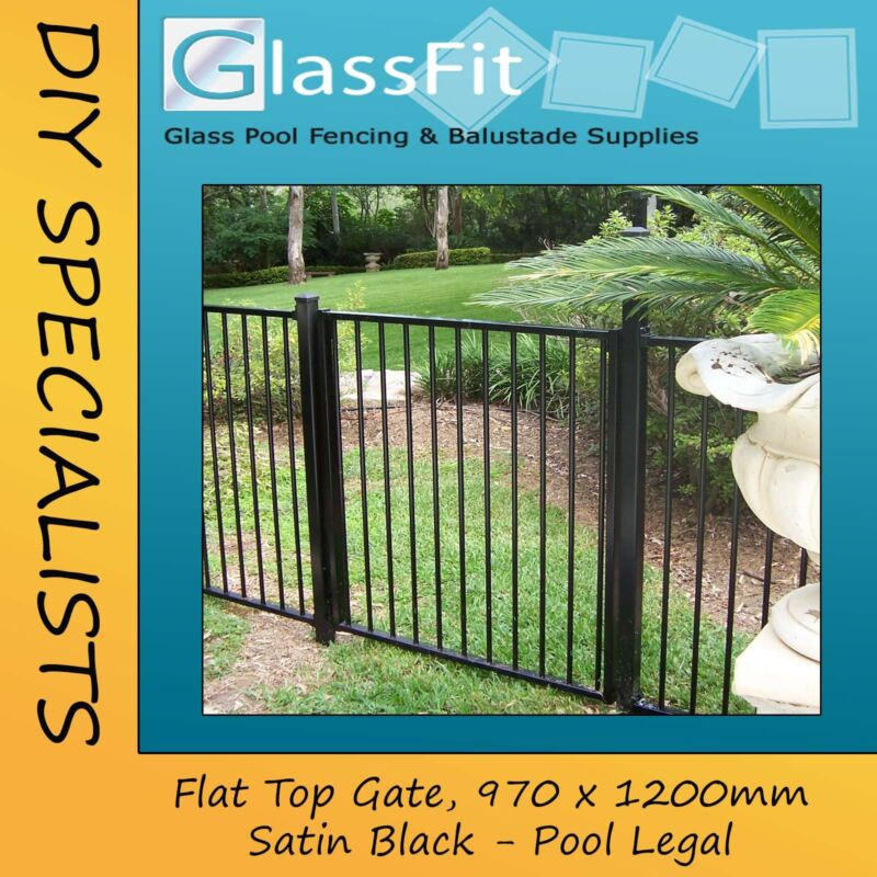 Aluminium Pool Fence Flat Top Gate 970mm X 1200mm Pool Fence Compliant Ebay