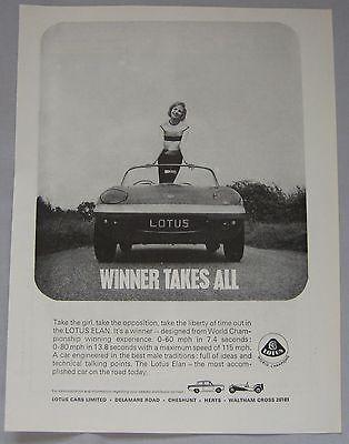 Automobilia Lotus Elan Post Card Brochure Sales Literature Advertising
