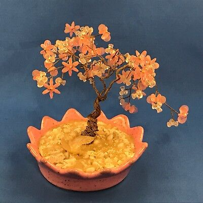 Copper Wire Tree with Pink and White leaves in Pink Bowl