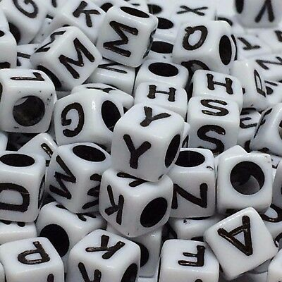 *3 for 2* 100 x 6mm black & white letter/alphabet beads - Dummy clips, jewellery