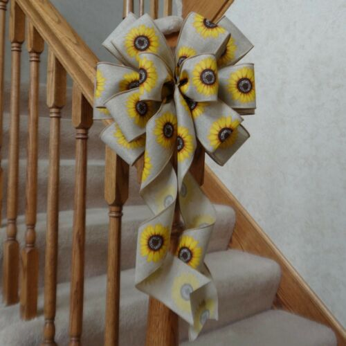 """10"""" WIDE BURLAP TYPE BOW WITH SUNFLOWERS~DECORATION FOR WREATHS, GIFTS, CRAFTS"""