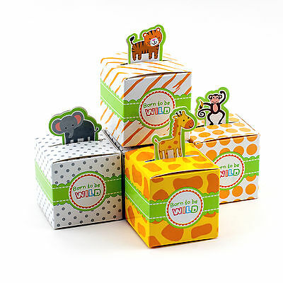24 Jungle Safari Theme Baby Shower Favor Candy Box Animal