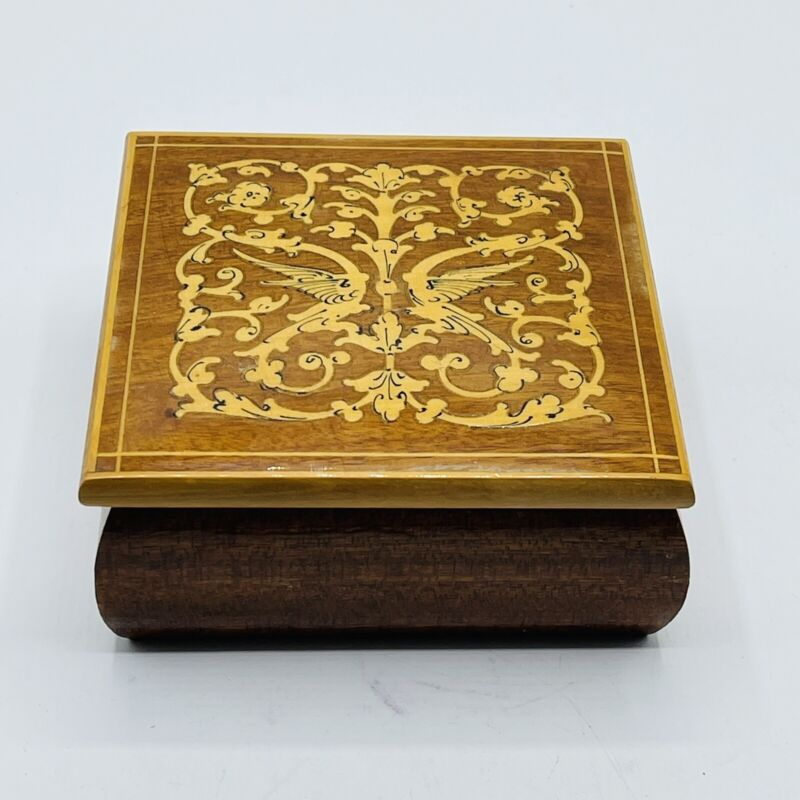 Small Inlaid Trinket Wood Box Italy 4 in Square