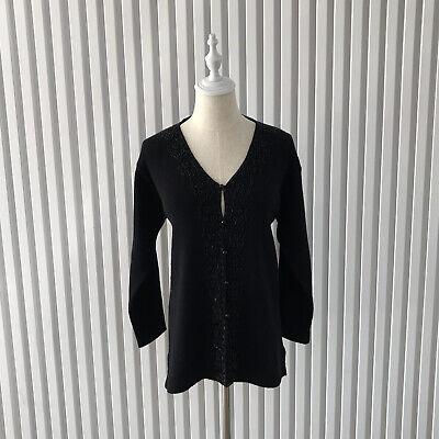 80s Sweatshirts, Sweaters, Vests | Women Womens Cardigan Black Size M Beaded Wool/Acrylic Mix Vintage 1980's $39.35 AT vintagedancer.com