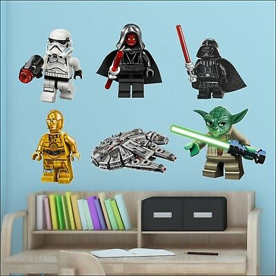Star Wars Lego Men Bedroom Full Colour Wall Sticker Transfer Individual or All 6