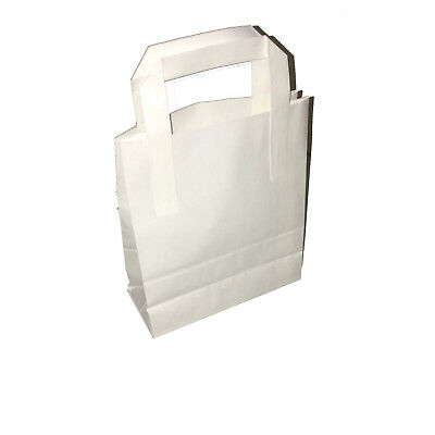 50 Large White SOS Kraft Paper Food Takeaway Carrier Bags