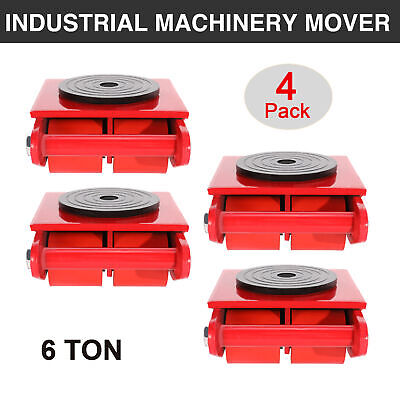 4 Pcs 6t Machinery Mover Dolly Skate 4 Rollers 13200lbs 6 Ton W360rotation Cap