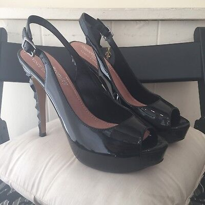 New Russell & Bromley By Vince Camuto Black Patent Leather Peep Toe...