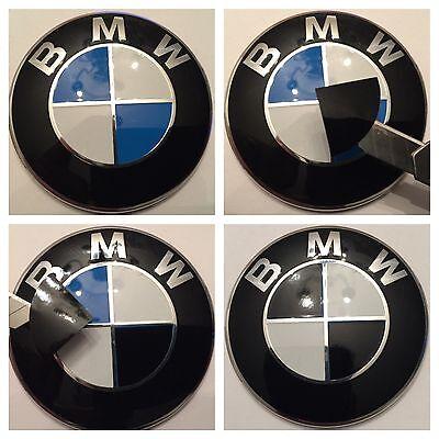 All Bmw  Black  Set Emblem Vinyl Cover Roundel Sticker Overlay