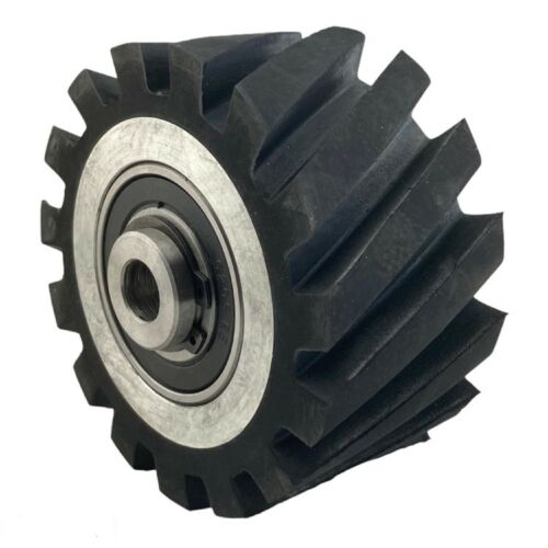 "4"" Serrated Polyurethane Rubber Contact Wheel For Belt Grinder Dynamic Balance"