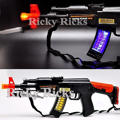 Light Up Machine Gun Military Toy Rifle Kids Moving Barrel LED Tommy Pistol - Kids Toy Guns