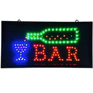 Animated LED Bar Sign 19 x 10 light pub Beer Bottle neon store Shop Display wine