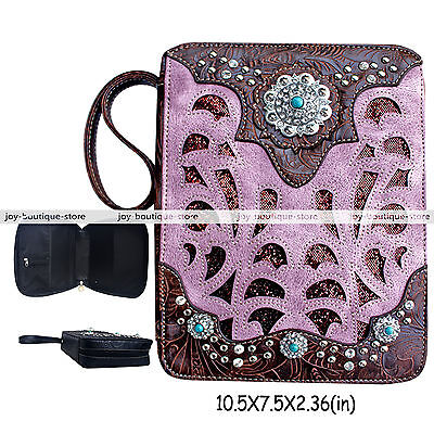 Pink Holy bible cover case verse purse bag Rhinestone Turquoise Stud Christian