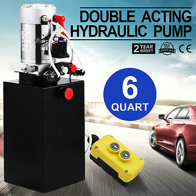 6 Quart Double Acting Hydraulic Pump Dump Trailer Unloading Lift Crane