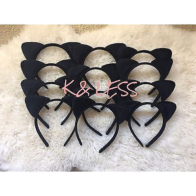 12pcs All Black Kitty Cat Ears Headband Costume Party Favor Girls Adults Recuerd](All Black Cat Costume)