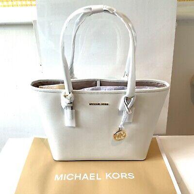 Michael Kors Large White Leather Shoulder Bag Jet Set Tote