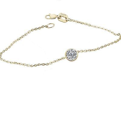 1/2 Carat Brilliant Cut 5mm Bezel Round Bracelet 14K Yellow Gold Cable Chain 7""