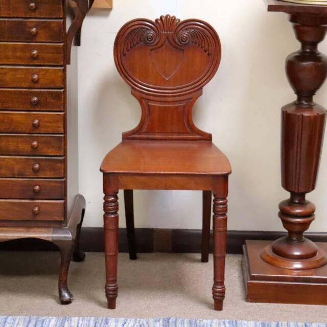 A Fine Antique C1820 Georgian Carved Mahogany Hall Chair