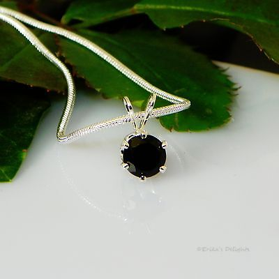 Black Onyx Round Sterling Silver Pendant  w/ Snake Chain Necklace - Onyx Circular Pendant