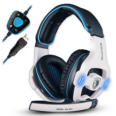 Sades SA-903 7.1 Surround Sound Gaming Headset Headband USB w/Mic For PC Blue