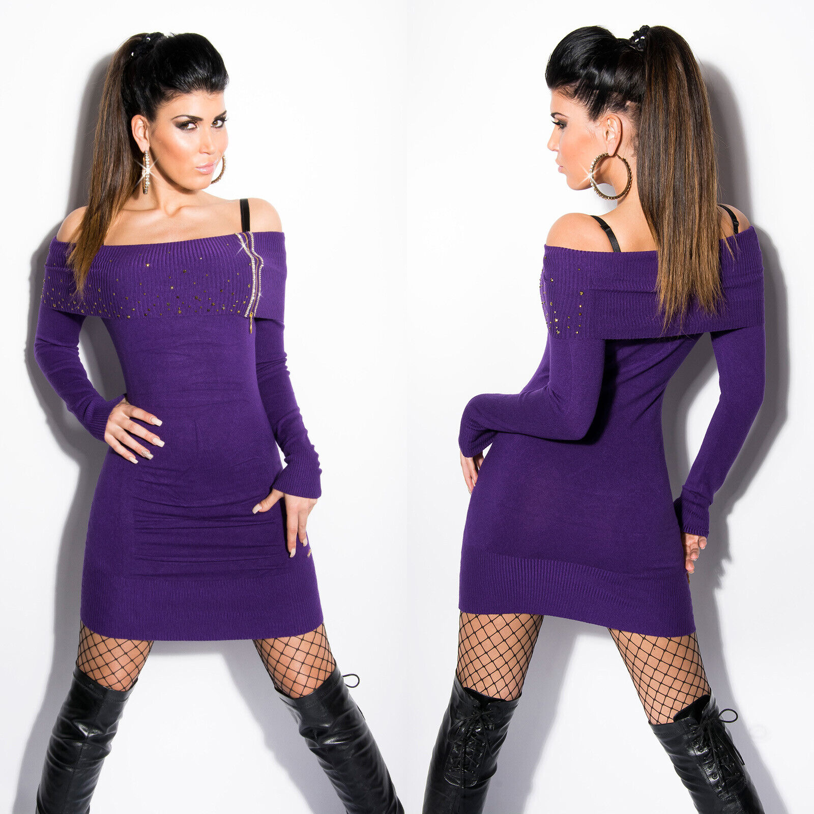 Mini abito donna aderente spalle scoperte vestito corto ragazza maniche lunghe