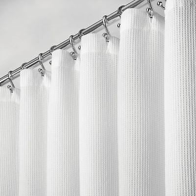 mDesign Extra-Long Premium 100% Cotton Waffle Weave Fabric Shower Curtain,