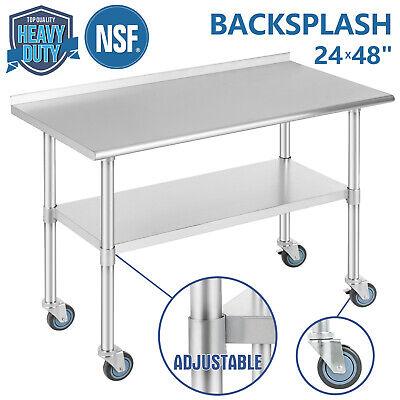 Commercial 24x48 Stainless Steel Kitchen Prep Work Table W4 Caster Backsplash