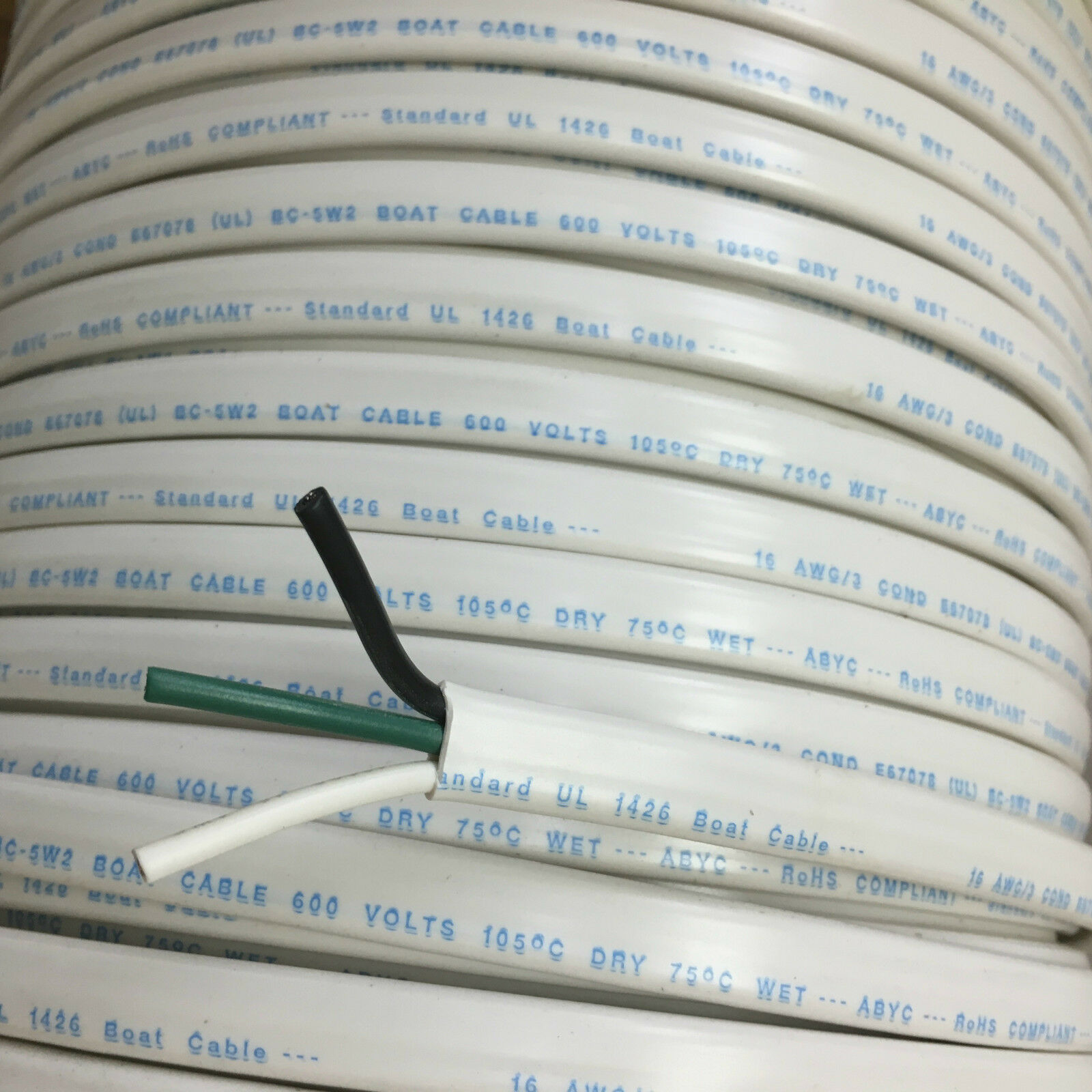16/3 AWG Gauge Marine Grade Wire AC, Boat Cable, Tinned Copper, Flat ...