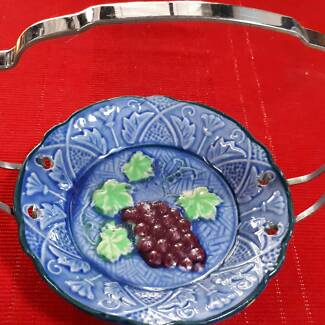 Vintage ceramic plate with chrome detachable handle made japan.