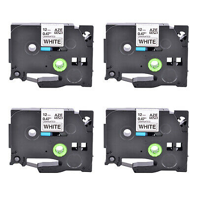4pk Tz231 Tze231 Black On White Label Tape For Brother P-touch Pt-h110 12mm 12