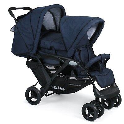 Chic 4 Baby Geschwisterwagen Duo + Tragetasche & Regenhaube Jeans navy blue NEU
