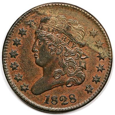 1828 C 3 13 STARS BISECTING LAMINATIONS CLASSIC HEAD HALF CENT COIN 1/2C