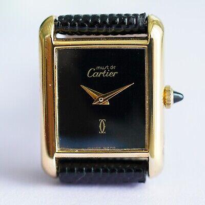 Vintage Must De Cartier Tank Watch 18k Gold Electroplated -Manual Wind Women's