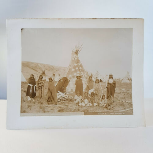 Original circa 1890 photo of Blackfoot (Siksika) Camp in Alberta, J.S. Mathews