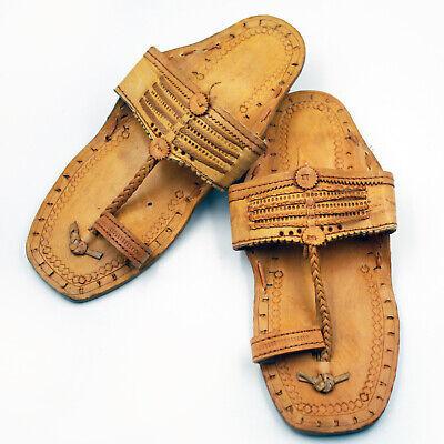 he Natur Leder Jesuslatschen Hippie Retro Vintage Braun C (Hippie Schuhe)