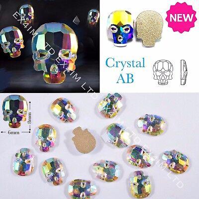 3D Crystal AB SKULL Flat Back Nail Rhinestones Diamond Charms Jewelry - 3d Halloween Acrylic Nails