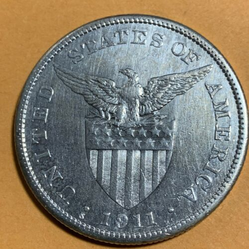 US PHILIPPINES ONE PESO 1911-S SEMI KEY DATE SCARCE #545